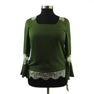 NY Collection Top - Green, White